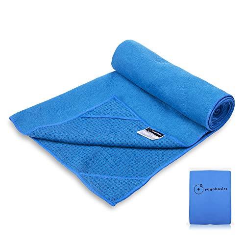 Yogabasics Handtuch für Yogamatte, rutschfest durch Silikonpunkte und Ecktaschen, 183cm x 63cm, Geeignet für Hot Yoga, Extrem Schweiß absorbierend, Premium Mikrofaser Qualität - Blau