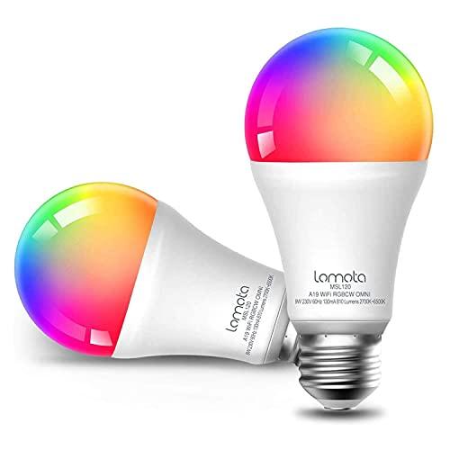 Lampadina Wi-Fi Intelligente Lomota, Compatibile con Alexa e Google Assistant, LED 9W Dimmerabile Multicolori A19 E27 2700K-6500K Smart Bulb RGBCW, 2 Pezzi