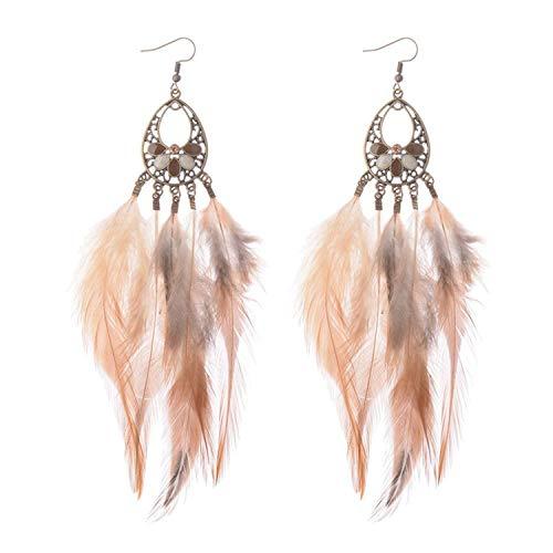 Pendientes largos de plumas de color plata bohemia Cuentas para mujer Joyas para pasarela Pendientes colgantes Brincos 377-3