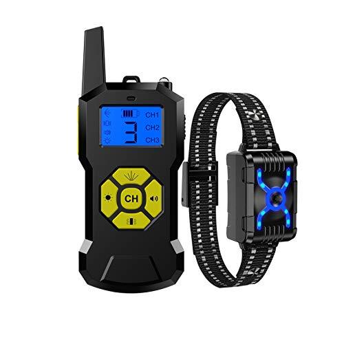 YYQQ Collar de Adiestramiento para Perros Sin Descargas Eléctricas con Rango de 800 Metros,Vibración,Sonido y Luz LED,Impermeable y Recargable