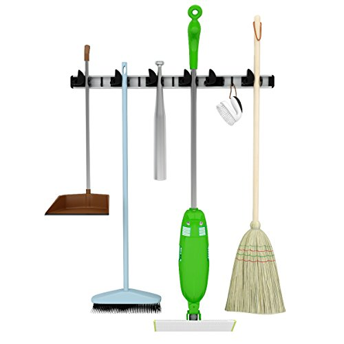 RENEGADE Mop, Broom & Tool Holder- Perfect in Garage Basement- Garden Tool Storage-Laundry Room Organization-Wall Mounted Aluminum Organizer- for Home & Commercial Use