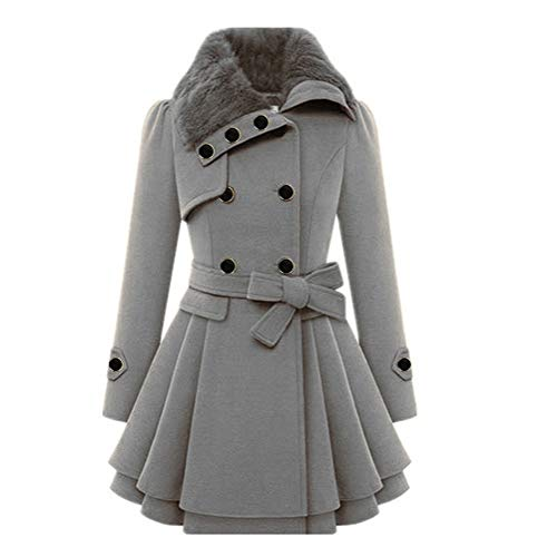 Male god Capa asimétrica con dobladillo para mujer, chaqueta de invierno cálida de manga larga con capucha, chaqueta casual para mujer (color: gris, talla: XL)