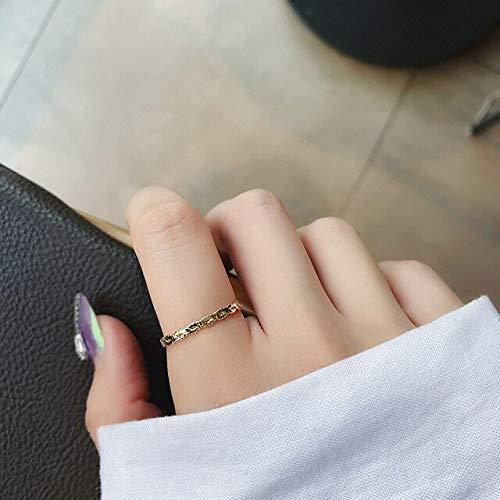 HWADMW Anillo de cristal simple en forma de corazón anillo de dedo de estrella de mar de diamantes de imitación lindo femenino corona de perlas anillo geométrico regalo de niña dulce 2do