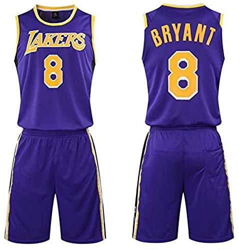 HGTRF Camiseta de Baloncesto/Conjunto de Ropa Deportiva Uniforme, Lakers 8# Bryant Fans Jerseys Sudaderas de Entrenamiento, para niños, Adolescentes, niño adult-5XL Purple