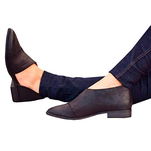 FISACE Womens Casual Slip-On Loafer Pointed Toe Cut Out Slip on Office Casual Dressy Ankle Boot