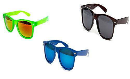 Ciffre 3 er Set Nerd Sonnenbrille Partybrille Festival Sunglass Atzen Brille Grün Dunkel Blau Braun D1020