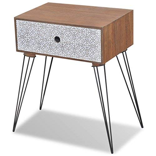 Festnight Table de Chevet en Bois avec Tiroir Brun Scandinave Design