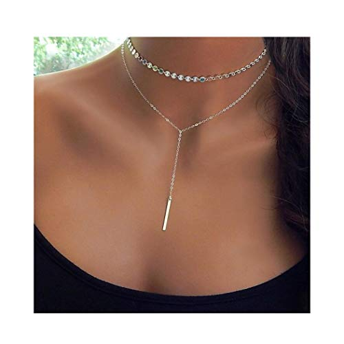 IYOU Fashion Gelaagde Ketting Goud Pailletten Bar Hanger Ketting Y-vorm Kettingen Choker Sieraden voor Vrouwen en Meisjes