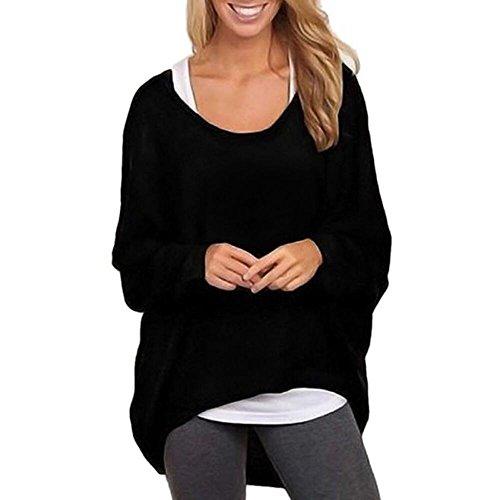 Alikeey Dames-vleugel-mouw-losse gebreide jack pullover casual kanten blouse tumblr esprit sweatshirt