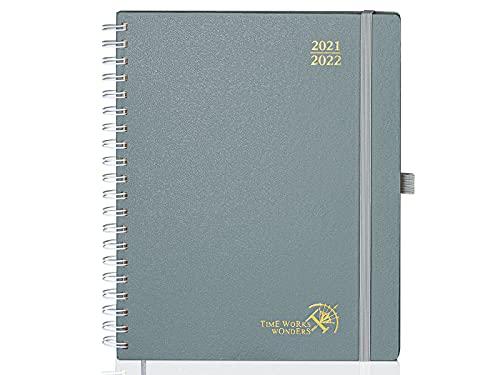 Kalender 2021 2022 Wochenplaner ca. A4 - Terminplaner 2021/2022 Ringbuch Hardcover von Aug. 21- Aug. 22, Planer Schülerkalender 21/22 mit Notizseiten & mehr, 26,5 x 21,5 cm, Grau