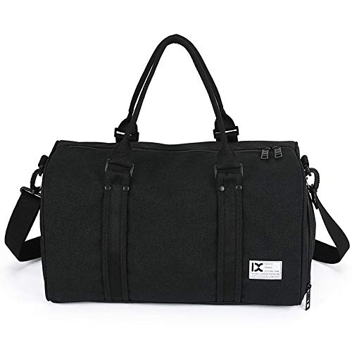 Tooart Travel Duffele Bag - 28L Waterproof with Separate Shoe Compartment for Men Women Sports Gym Tote Bag - Black/Grey/Dark Grey