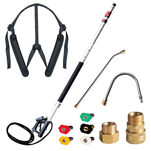 Hourleey Pressure Washer Telescoping Extension Wand, 5.2-18.9Ft Including 2 Wands 2 Adapters 5 Nozzle Tips and Belt, 4000 PSI