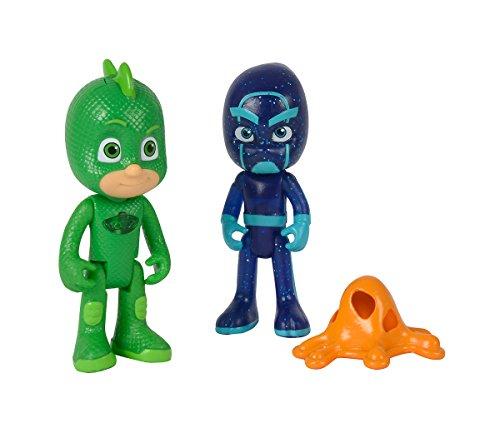 Simba – PJ Masks Figurenset Gecko und Nachtninja / Pyjamaheld und Bösewicht / Gecko mit Licht / Action Figuren / beweglich / 8cm groß, für Kinder ab 3 Jahren