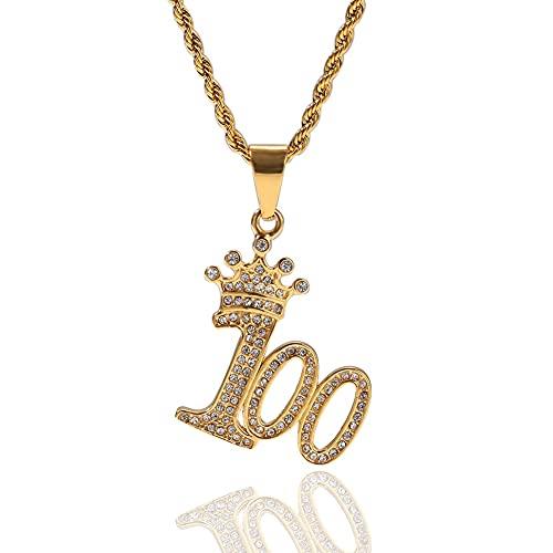 Collar de Hombres Coronas 100 Hombre Colgante Cadena de Rhinestone, Hip Hop Punk joyería de Moda Tendencia niño Collares de Acero Inoxidable Oro (Color : Gold)