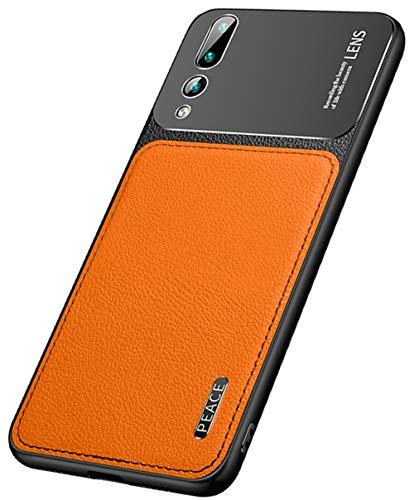 """MOONCASE Huawei P20 Pro Caso,Ultra Fino Couro PU Macio TPU Mate Metal Fosco Capa de Proteção Câmera Capa à Prova de Choque para Huawei P20 Pro 6.1"""" -Laranja"""
