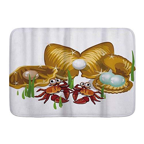 Microfiber Bath Mat Rug,Sea Life Theme Cartoon Style Three Gold Shells with Pearls and Crabs Print Ginger Mustard,Bath Mat Floor Rugs Non-Slip mat 29.5 X 17.5