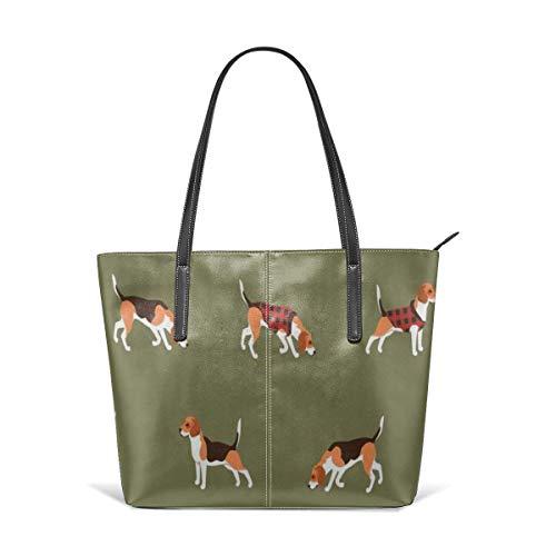 Beagle Buffalo Plaid Fashion Purses And Handbags For Women Satchel Shoulder Tote Bags