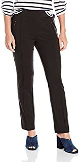 Ruby Rd. Women's Petite Size Pull-on Stretch Ponte Pant with Front Zipper Pocket
