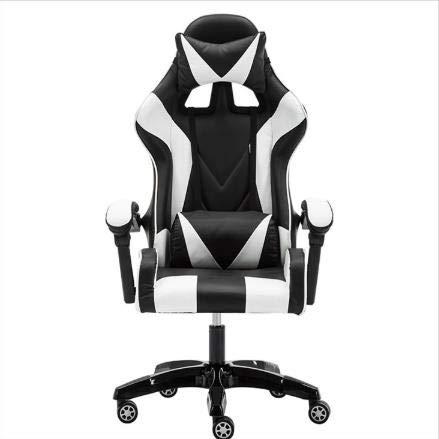 LWZ Sillas de Juego, sillas de Oficina, sillas giratorias robustas y ergonómicas, sillas con Cojines y respaldos Ajustables, sillas con reposapiés retráctiles (Negro y Rojo),Black and White