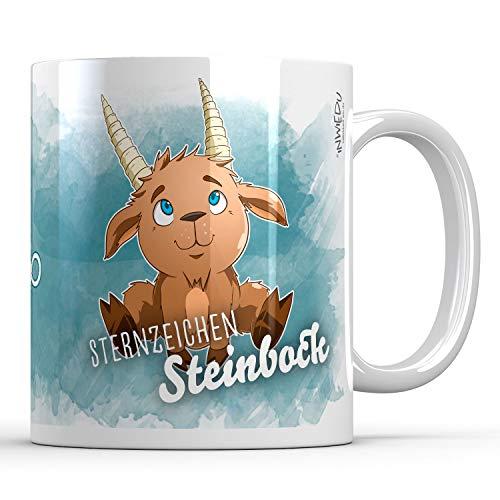 INWIEDU - Keramik Tasse Sternzeichen Steinbock - 330 ml - Ø 80 H 96 mm - Kaffee Becher Tee