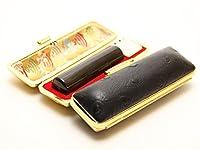 「天然黒水牛印鑑10.5mm×60mmオーストリッチタイプブラックケース付き」 横彫り 吉相体