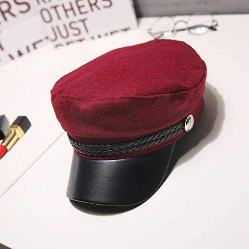 Moda Mujer Hombre Sombrero Primavera Otoño Sombreros de Marinero Señoras Negras Boina Gorras Tapa Plana Capitán Cap Sombrero Octogonal-Red Wool