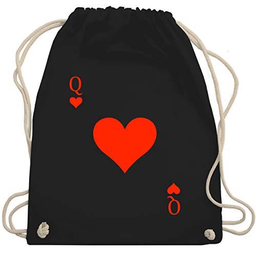 Shirtracer Partner-Look Pärchen Damen - Queen Kartenspiel Karneval Kostüm - Unisize - Schwarz - turnbeutel kartenspiel - WM110 - Turnbeutel und Stoffbeutel aus Baumwolle
