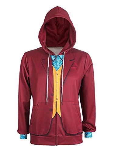 CoolChange Sportlicher Joker Reißverschluss Hoodie im Arthur Fleck Design, Rot, Größe: S