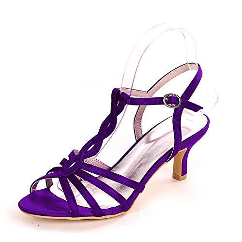 QXue - Zapatos de boda para mujer, satinados, puntera abierta, color blanco...