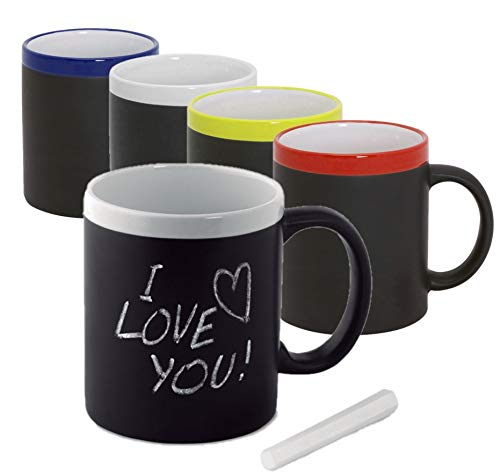Publiclick Lote 20 Tazas Pizarra Taza de cerámica de 350ml, Cuerpo Negro Pizarra para Pintar. Tiza incluida a Juego, Detalles niños y niñas