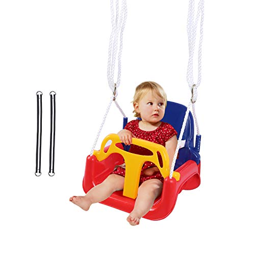 REDCAMP 3 in 1 Toddler Swing for Outside Tree, Sturdy Secure Plastic Outdoor Infants Baby Swing Seat for Swingset Playground Inside (Red)