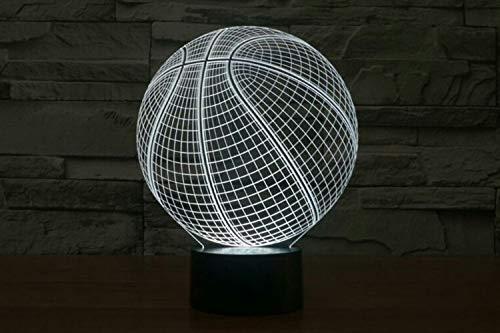 Tianyifengg 3D-LED-7 Color-Control Remoto-luz Nocturna-Baloncesto luz Nocturna Sensor de luz Nocturna atmósfera lámpara de Mesa mesita de Noche ilusión proyector