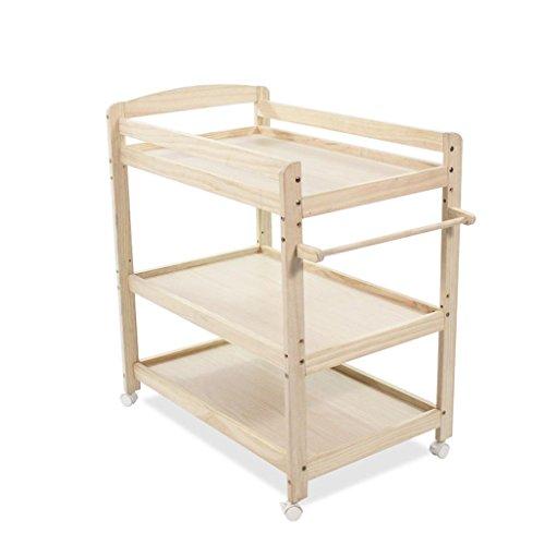 Ali@ Table à langer en bois de pin, trois couches, station de soins amovible pour nouveau-nés, support de douche, table de massage, à hauteur variable, charge 30 kg