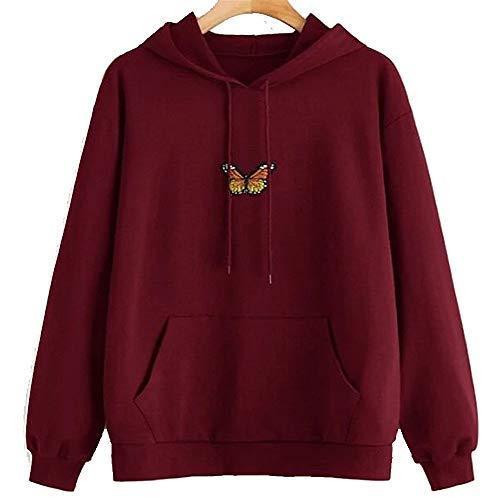 Schmetterling Hoodie Frauen Casual Sweatshirts Langarm Pullover Pullover Patchwork Pocket Hood Tops Bluse mit Kordelzug für Mädchen Damen Streetwear Outfit