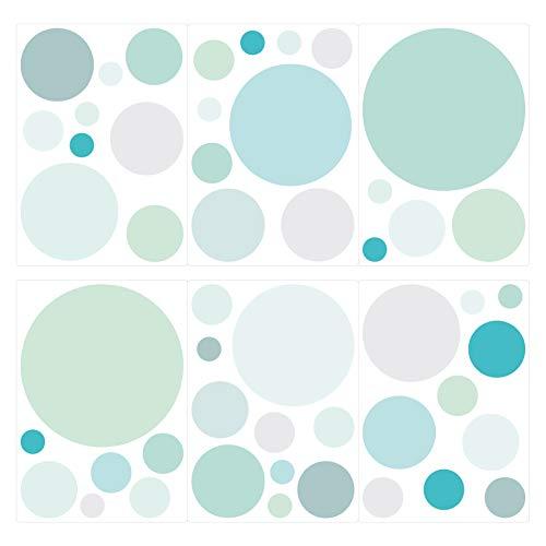 dekodino® Wandtattoo Pastell Punkte in Blau und Grün 50 Stück Wandsticker Set