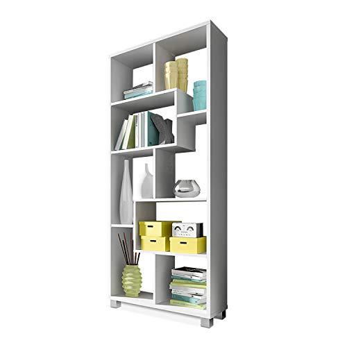 SelectionHome - Estanteria libreria de diseno Comedor salon, Color Blanco Mate, Medidas: 68,5 x 161 x 25 cm de Fondo