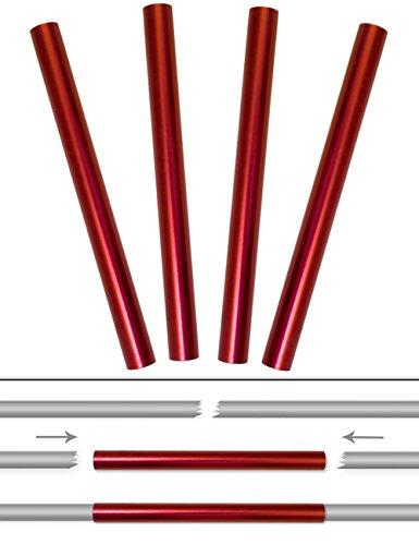Outdoor Saxx® - 4 tubos de reparación de postes de tienda de campaña, tubos de aluminio, kit de reparación, para reparación de postes rotos de tienda de campaña, diámetro de 10 mm, 4 unidades.