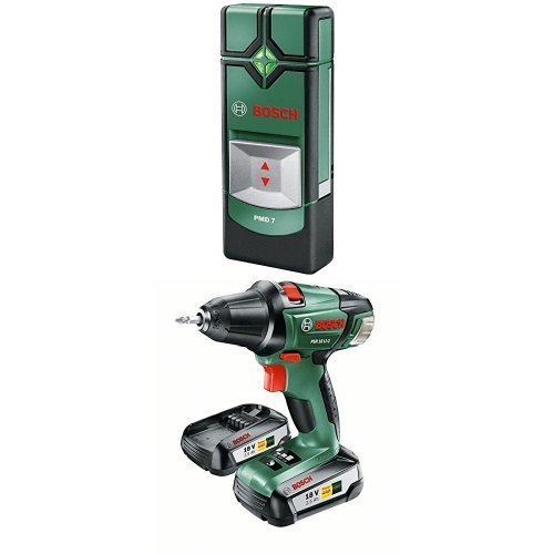 Bosch PMD 7 - Multidetector (1,5 V) + Bosch PSR 18 Li-2 - Atornillador/taladro con batería de litio de 2 velocidades (45 W, 18 V)