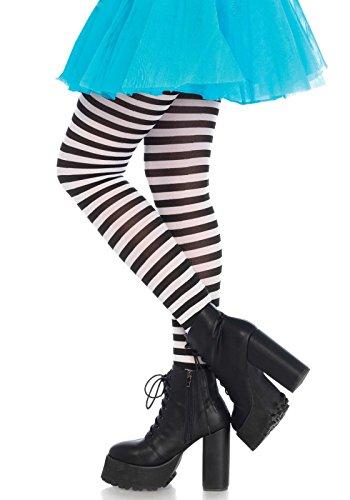 Leg Avenue 7100Q - Plus Größe Gestreiftes Strümpfhose Kostüm Damen Karneval, Größe 46, schwarz/weiß