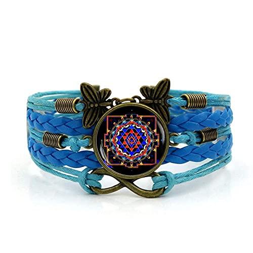 Pulsera tejida, cuerda azul yoga MEDITACIÓN ARTE, Tiempo Pulsera de piedras preciosas Multi-capa Mano tejida de vidrio Joyería de la joyería de las señoras de la moda de la joyería de estilo europeo y