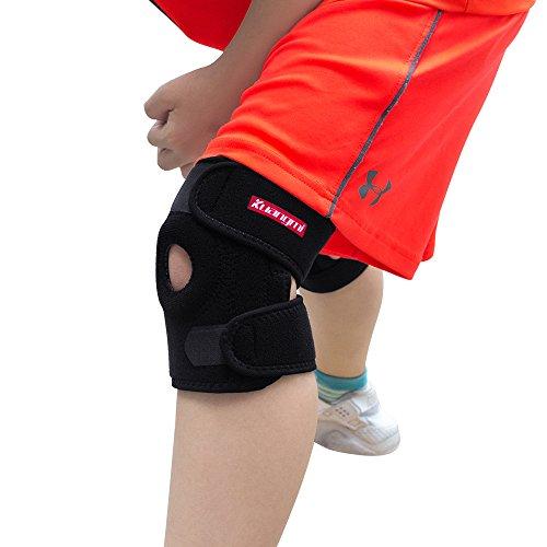 Kuangmi Kniebandage für Kinder, offene Patella, verstellbar, Schwarz, 1 Stück