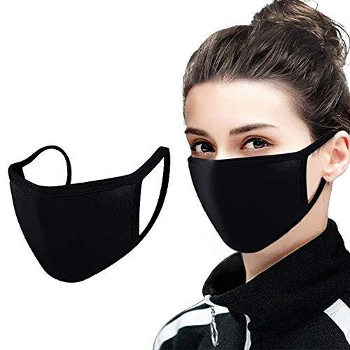 4 Mundmasken für Freizeit Sport Training Mundschutz Staub Pollen Gesichtsmaske Fashion Maske Gesichtsschutz Face Masks Sportmaske waschbar (Schwarz)