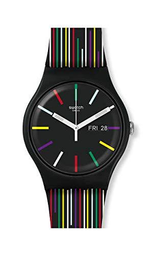 Swatch Unisex– Erwachsene Analog Schweizer Quarz Uhr mit Silicone Armband SUOB729