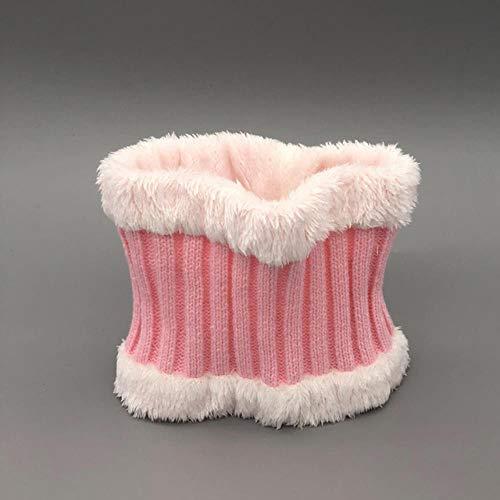 XCLWL herenmuts, wintermuts Fahion Skullies, gehaakt, gebreide muts voor kinderen, bommelmuts voor meisjes, sjaal voor kinderen, roze sjaal 1-5 jaar (40-49 cm)
