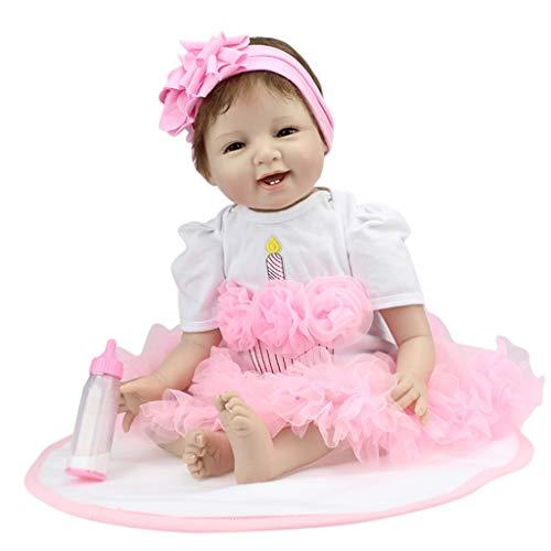 perfeclan 55cm Silicona Bebé Recién Nacido Muñeca Reborn Silicona Muñeca Niña Amante de Los Niños Rosa