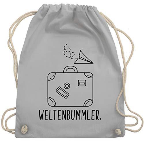 Shirtracer Urlaub - Weltenbummler - Unisize - Hellgrau - turnbeutel weltenbummler - WM110 - Turnbeutel und Stoffbeutel aus Baumwolle