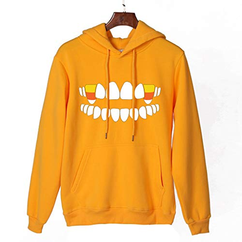 Find Bargain HNTDG Women Halloween Teeth Candy Print Long Sleeves Solid Pullover Hooded Sweatshirt B...