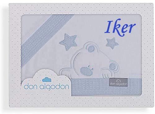 Danielstore-Sabanas Cuna Don Algodón 60x120 algodon 100% - (bajera+encimera+funda almohada) (Don Algodón Azul Personalizada)