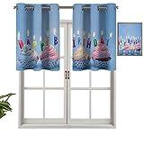 Hiiiman Cenefas de cortina con ojales para ventana, deliciosos cupcakes cremosos con velas de letra, diseño de celebración, juego de 2, 106,7 x 60,9 cm para ventana de cocina