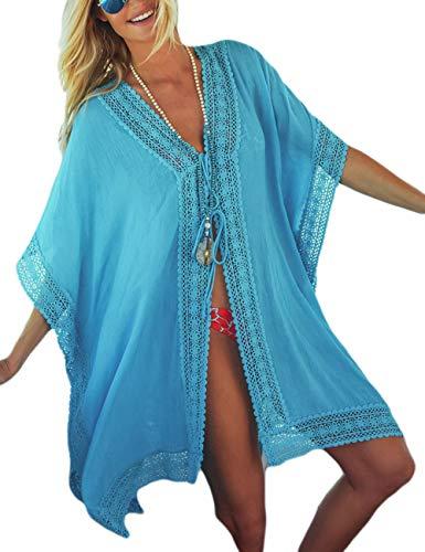 Bsubseach Mujer Pareo Azul Claro Traje de baño Elegante Cubrir Bikini Kimono Cardigan de Gasa Camisola y Pareos